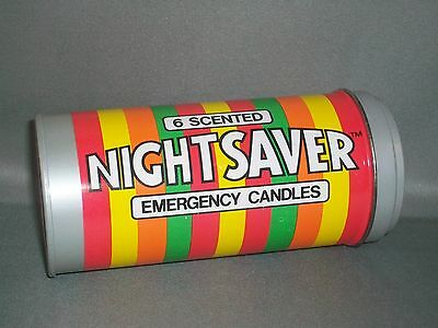 Vintage 1982 Life Savers Night Saver Emergency Candle Set in Metal Tin - NOS