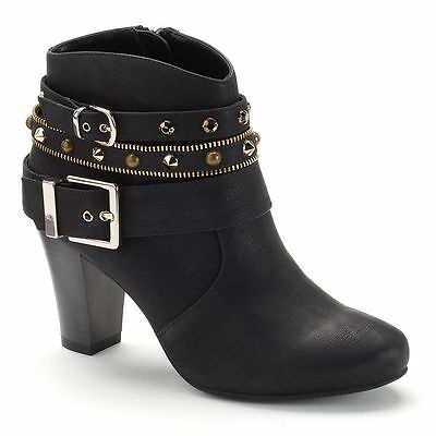 JLO WOMEN'S ANKLE High Heel Boots Black Size 9 12 M Suede