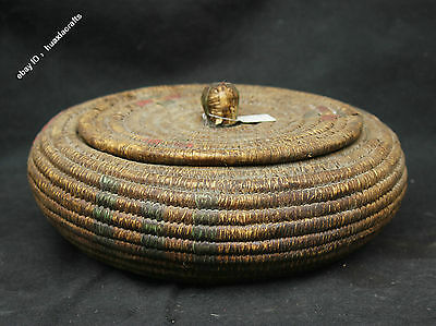 "12"" Collection Chinese Old Antique Bamboo rattan weave Fish baskets Sculpture"