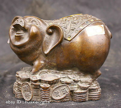 Chinese Folk Fengshui Old Antique Copper Brass Statue Lucky Money Pig Sculpture