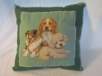 DECORATIVE PILLOW with 3 DOGS   NEW  HANDMADE