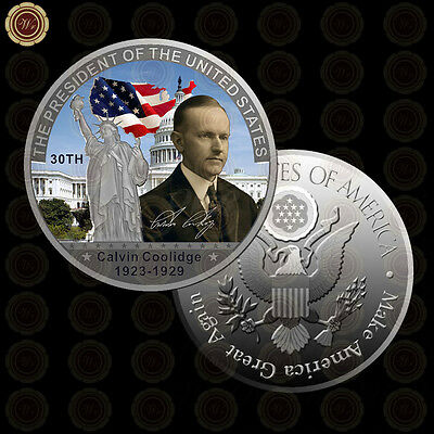 WR 30th U.S President Calvin Coolidge Colorized Silver American Coin Values Gift