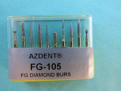 Dental Diamond FG 105 Bur 10 Pcs Polishing Kit  for Ceramic and Composite