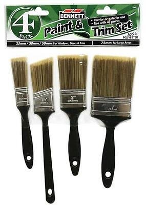 Bennett 4000 4 PIECE PAINT BRUSH SET PINCEAU PEINTURE 1 PO/1-1/2 PO 2 PO/3 PO