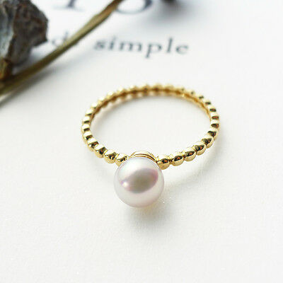 AAA 6-6.5MM Natural White Genuine Akoya Pearl Ring Solid 14K Yellow Gold Size 6
