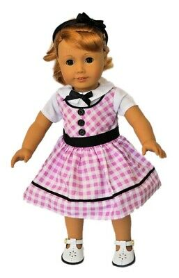 """Doll Clothes 18"""" Doll Dress Pink White Fits American Girl Doll Mary Ellen 1954"""