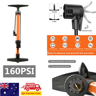 AU High Pressure Bicycle Bike Alloy Floor Air Pump Dual Valve Gauge Portable