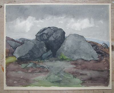 Antique 19th Century Yorkshire Dales Rocky Landscape Watercolour Painting-Signed