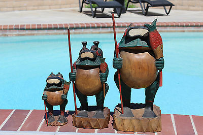 Vintage outdoor Wooden Statues of Divers Frogs.Amazing set for outdoor or indoor
