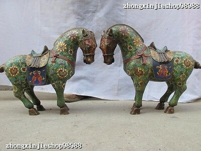 China Royal 100% Pure bronze cloisonne Enamel   Lucky Two horse statue pair