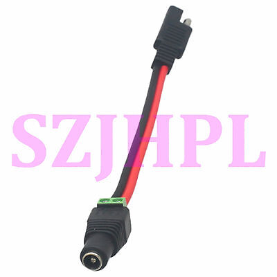 """SAE Flat Plug to solderless 5.5x2.5mm jack DC Power Battery 14AWG 6"""" Cable Solar"""