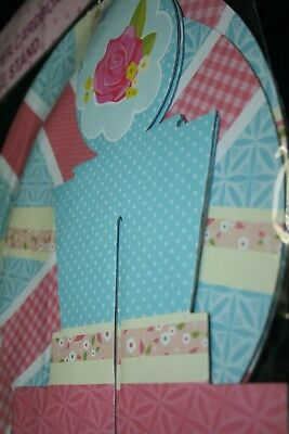 2 Tier CupCake Stand Blue Polka Dot Rose Floral Tea Party Birthday Wedding decor