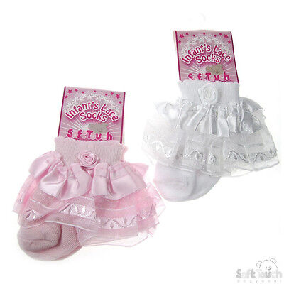 Newborn To 12 Months Frilly Sparkle Infant Baby Girl White Pink Lace Socks