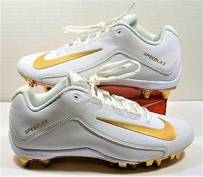 Nike Speedlax V 5 LAX Lacrosse Cleats White Metallic Gold Sz 10 NEW 807158 170