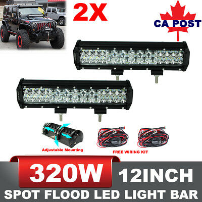 2x 12inch 320W LED Light Bar Flood Spot Combo Work Driving Lamp Philips Lumileds
