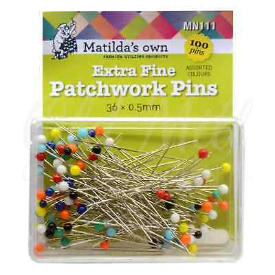 Matilda's Own Extra Fine Patchwork Pins 100 Pieces 36mm x 0.5mm Quilting Sewing