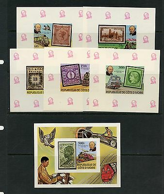 Ivory Coast 1979  Rowland Hill stamps trains IMPERF SHEETS   MNH  J644