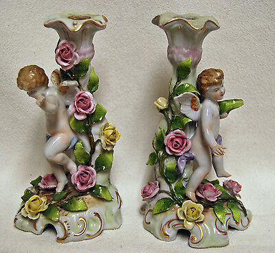 Rare Antique Pair of Von Schierholz German Porcelain Cherub Candle Holder Sticks