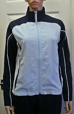 Ladies Reebok Navy Blue Tracksuit Jacket Top Lined 2 Pockets Size 12