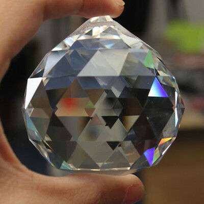 Chandelier Clear Glass Crystal Round Faceted Ball Lamp Prism Drop Pendant 60mm