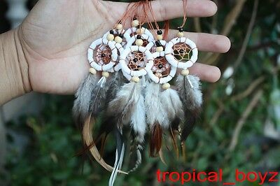 10 White mini Handmade Dream Catcher Dreamcatcher Cellphone Charm Wholesale