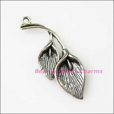 5 New Flower Leaf Tibetan Silver Tone Charms Pendants 16.5x40mm