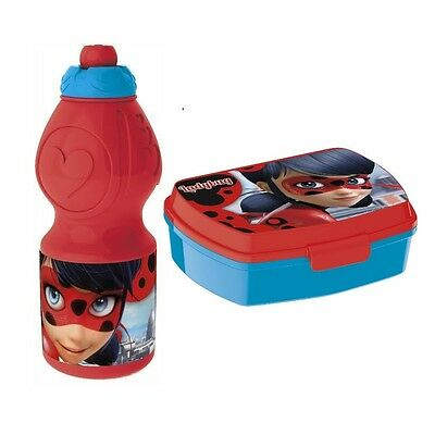 Miraculous Ladybug Lunch Set Brotdose Trinkflasche Sportflasche Brotbox NEU NEW