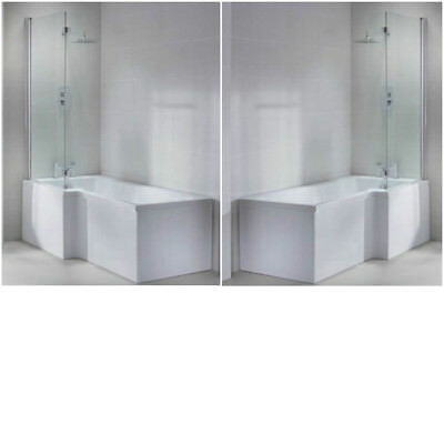 l shape shower bath tub left right hand 1600 1700 large 1800 screen panel White