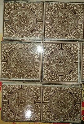 Antique Victorian Ceramic Tile Hand Painted Flower Floral England MAW