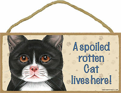 A spoiled rotten Cat lives here! Tuxedo Black White Kitten Cat Wood Sign USA