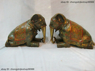 Chinese Royal 100% Pure Bronze cloisonne 24K Gold Elephant statue pair
