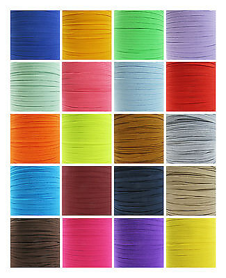 6mm COLOURED FLAT ELASTIC TRIM *22 COLOURS* CORD TRIMMING STRETCHY RIBBON