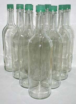 10 x 1 Litre Glass Bottles with Tamper Evident Lids