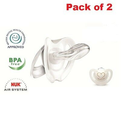 Baby Silicone Dummy 0-6 Months NUK Soft Soother Teething BPA Free Pack of 2