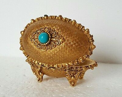 Vintage Florenza Egg Shaped Ring Trinket Box