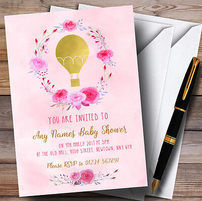 Pink Watercolour Hot Air Balloon Invitations Baby Shower Invitations