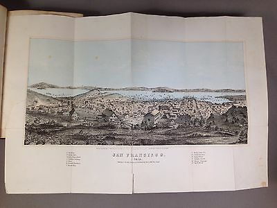 Antique 1855 View/Map of San Francisco. Original Lithograph in book. Henry Bill