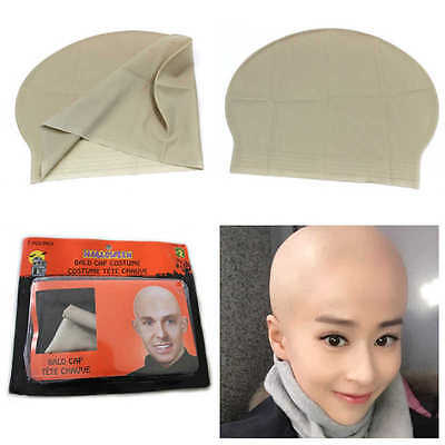 Funny Fake Bald Head Skinhead Baldy Clown Mens Ladies Fancy Dress Wig Cap 1pc