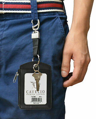 Cavelio Genuine Leather Badge/ID Holder+Credit Card Holder with Loop Selections