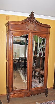 Beautiful French Antique Louis XV Walnut 2 Door Beveled Armoire.