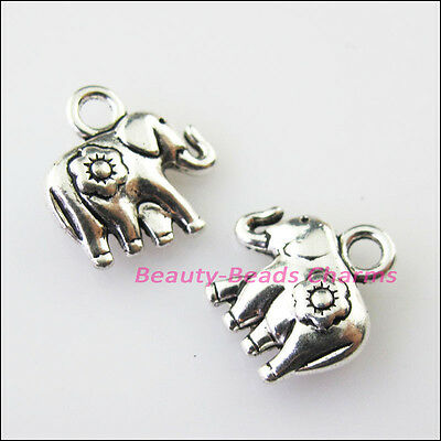 10 New Tiny Animal Elephant Tibetan Silver Tone Charms Pendants 12x12.5mm
