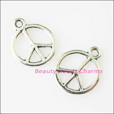 25 New Tiny Peace Sign Tibetan Silver Tone Charms Pendants 12x15mm