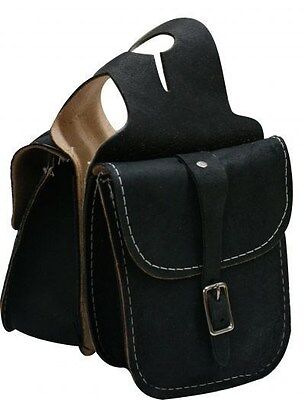 BLACK Rough Out Leather Horn Bag w/ Single Buckle Closure! NEW HORSE TACK!!