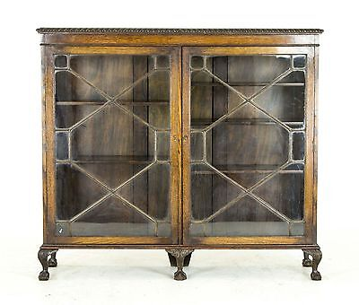 B452 Antique Scottish Two Door Oak Cabinet, Library Bookcase with Astragal Doors
