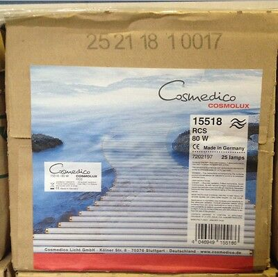 New Box of 25 Cosmedico Cosmolux 15518 RCS 80W Tanning Bed Lights bulbs lamps