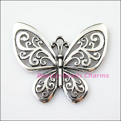 2 New Flying Butterfly Animal Tibetan Silver Tone Charms Pendants 47x56mm