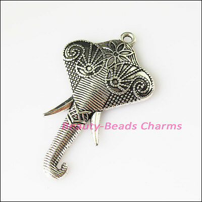 3 New Elephant Head Animal Tibetan Silver Tone Charms Pendants 27x46mm