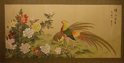 """Pheasants and peonies – Chinese painting on silk 48""""x24""""/40""""x20"""" ref CB23"""