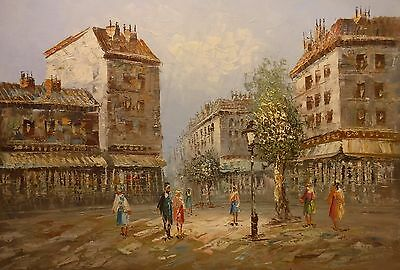 Busy boulevard with tree 36x24 OIL PAINTING on flat canvas signed HOLMIS