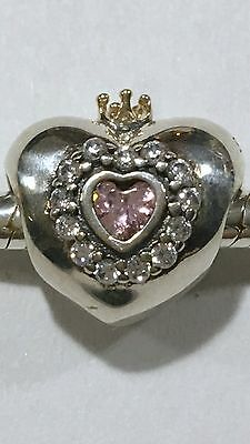 Sterling Silver S925 & 14k Gold Princess Heart Charm + Pandora Polishing Cloth